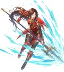 1girl altena_(fire_emblem) armor armored_boots bangs boots breastplate brown_eyes brown_hair dress elbow_gloves fire_emblem fire_emblem:_thracia_776 fire_emblem_heroes full_body gloves headband highres lips lipstick long_hair makeup official_art pelvic_curtain red_armor red_dress short_dress shoulder_armor solo thigh-highs thigh_strap