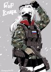 1girl camouflage clara_(girls_und_panzer) cold flag girls_und_panzer gloves gun handgun highres hone_(honehone083) load_bearing_vest long_hair mask military military_operator russian_flag snow solo trigger_discipline weapon