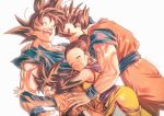 1girl 3boys :d ^_^ arm_around_shoulder arm_around_waist ass backlighting bangs black_hair blush breasts brothers chi-chi_(dragon_ball) china_dress chinese_clothes closed_eyes commentary_request couple dougi dragon_ball dragon_ball_z dress dutch_angle earrings eyelashes family father_and_son floating_hair furrowed_eyebrows group_hug hair_bun hand_on_another's_head happy happy_tears hetero hug jewelry light_particles mattari_illust mother_and_son multiple_boys open_mouth outstretched_arms profile shaded_face siblings sideboob simple_background sleeveless sleeveless_dress smile son_gohan son_gokuu son_goten spiky_hair tears teeth tied_hair torn_clothes twitter_username upper_body upper_teeth white_background wristband