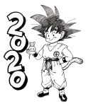1boy 2020 animal animal_on_hand black_eyes black_footwear black_hair chinese_zodiac clenched_hand closed_mouth clothes_writing collarbone commentary_request dated dougi dragon_ball dragon_ball_(classic) fingernails full_body hand_on_hip happy highres holding holding_animal lee_(dragon_garou) looking_at_viewer male_focus monochrome mouse mouse_on_hand new_year outstretched_hand simple_background smile son_gokuu spiky_hair standing white_background wristband