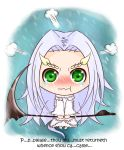1girl background_text blush chibi dark_souls dragon_girl fur green_eyes horns iforher long_hair nervous priscilla_the_crossbreed scythe solo souls_(from_software) tears weapon white_fur white_hair