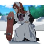 1girl apron blue_eyes blurry blurry_background bow bowtie brown_hair clouds cloudy_sky day freckles full_body kneeling long_sleeves maid maid_apron maid_headdress medium_hair original outdoors profile purple_neckwear shadow skate_park skateboard sky solo suzushiro_(suzushiro333) tree