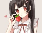 1girl bangs black_hair black_nails blush bow collared_shirt commentary_request eyebrows_visible_through_hair food frilled_shirt frills fruit grey_background hachimitsu_honey hair_bow hand_up heart highres holding holding_food nail_polish neck_ribbon original pink_bow red_eyes red_ribbon ribbon shirt simple_background sleeveless sleeveless_shirt smile solo strawberry two_side_up upper_body white_shirt