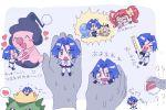 2ameyasan2 blue_hair chibi cutemon green_eyes kojirou_(pokemon) mime_jr.