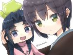 2girls arm_up artist_name asakura_ryouko balloon blue_eyes blue_hair brown_cardigan chibi closed_mouth green_eyes highres holding_head kimidori-san kita_high_school_uniform looking_at_viewer medium_hair multiple_girls nagato_yuki open_mouth pink_sweater purple_hair school_uniform short_hair simple_background soten_bluesky suzumiya_haruhi-chan_no_yuuutsu suzumiya_haruhi_no_yuuutsu sweater watermark white_background winter_uniform