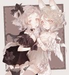 2girls \||/ angel_wings animal_ears black_bow black_dress black_legwear black_ribbon bow choker dress feathered_wings frilled_sleeves frills grey_dress grey_eyes grey_hair grey_legwear hair_bow hair_ribbon hand_on_another's_mouth looking_at_viewer multiple_girls muted_color nobuyo_ninomiya open_mouth original ribbon ribbon_choker see-through short_hair siblings sisters tail thigh-highs twins white_bow white_ribbon white_wings wings wrist_cuffs