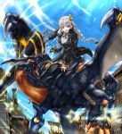 1girl arch black_dress black_jacket blue_eyes blue_sky braid commentary day dragon dress fingerless_gloves full_body gloves hair_ornament highres holding holding_weapon huge_weapon jacket kizuna_akari light_blush long_hair looking_at_viewer neon_lights not_makigai open_mouth orange_gloves outdoors pillar riding ruins sharp_teeth silver_hair sky smile sparkle sword teeth twin_braids v-shaped_eyebrows vocaloid voiceroid weapon wings wristband