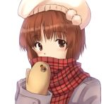 1girl animal_print bangs bear_print beret blush boko_(girls_und_panzer) brown_eyes brown_hair brown_mittens casual commentary covered_mouth eyebrows_visible_through_hair girls_und_panzer grey_coat hat long_sleeves looking_at_viewer nanjou_satoshi nishizumi_miho pink_headwear plaid plaid_scarf portrait red_scarf scarf short_hair simple_background solo white_background