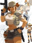 1girl abs ass baseball_cap belt_buckle biceps breasts brown_eyes brown_hair buckle crop_top explosive fio_germi glasses grenade gun handgun hat highres hip_vent holding holding_gun holding_weapon holstered_weapon knee_pads large_breasts leai_leao_burgess_jr metal_slug metal_slug_3 midriff military_operator muscle muscular_female pistol power-up rimless_eyewear round_eyewear scar short_ponytail shorts solo submachine_gun thick_thighs thighs trigger_discipline vest weapon wristband