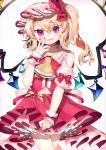 1girl blonde_hair commentary_request contrapposto cowboy_shot cravat crossed_legs eyebrows_visible_through_hair fangs fingernails fingers_to_cheek flandre_scarlet frilled_skirt frills gunjou_row hair_between_eyes hat hat_ribbon head_tilt highres looking_at_viewer mob_cap nail_polish one_side_up open_mouth petticoat pink_headwear pink_shirt raglan_sleeves red_eyes red_nails red_skirt red_vest ribbon shirt short_hair simple_background skirt slit_pupils smirk solo standing touhou vest white_background wings wrist_cuffs yellow_neckwear