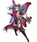 1girl bangs bare_shoulders boots breasts dress fairy_wings fire_emblem fire_emblem_heroes grey_hair hair_ornament highres large_breasts long_hair official_art pelvic_curtain plumeria_(fire_emblem) pointy_ears red_eyes shiny shiny_clothes shiny_hair shiny_skin sleeveless solo thigh-highs thigh_boots thorns tied_hair transparent_background wings