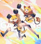 1boy 1girl absurdres animal_ears bangs bell bell_collar black_gloves black_neckwear blonde_hair blue_eyes bow brother_and_sister brown_jacket character_name claw_pose collar commentary full_body fur-trimmed_gloves fur-trimmed_jacket fur_trim gloves grin hair_bow hair_ornament hairclip highres jacket jumping kagamine_len kagamine_rin leg_up lion_ears lion_tail looking_at_viewer magical_mirai_(vocaloid) matching_outfit miniskirt neckerchief open_mouth pleated_skirt shirt short_hair short_ponytail shorts siblings skirt smile spiky_hair swept_bangs tail triangle twins twitter_username vest vocaloid white_bow white_shirt white_shorts white_skirt yamada_ichi yellow_vest
