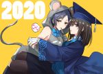 2020 2girls animal_costume animal_hood black_hair black_legwear blue_bow blue_hair bow chinese_zodiac finger_to_mouth gloves hat hood hoodie medium_hair mortarboard mouse_costume mouse_hood mouse_tail multiple_girls new_year parted_lips romi_(346_ura) short_hair sleeveless sleeveless_hoodie speech_bubble tail white_gloves year_of_the_rat yellow_background yellow_eyes