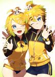 absurdres arm_around_back badge bandage_on_face bangs bass_clef blonde_hair blue_eyes bow buruma cable commentary cowboy_shot grin hair_bow hair_ornament hairclip hand_up head_tilt headphones highres jacket kagamine_len kagamine_rin leaning_forward looking_at_viewer matching_outfit neckerchief one_eye_closed open_mouth project_diva_(series) short_hair short_ponytail short_shorts shorts side-by-side smile spiky_hair sportswear star stylish_energy_(module) swept_bangs track_jacket treble_clef two-tone_jacket v vocaloid waving white_bow wristband yamada_ichi yellow_jacket yellow_neckwear zipper zipper_pull_tab