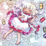 1girl barefoot beer_can can chibi closed_eyes dark_skin dress drooling drunk earlobes ebisu_eika eyebrows_visible_through_hair hand_on_own_chest hitodama holding holding_hair lying on_back pote_(ptkan) puffy_short_sleeves puffy_sleeves short_hair short_sleeves silver_hair solo sweatdrop touhou white_dress
