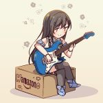 1girl amazon_(company) ayasaka bang_dream! bangs beige_background black_hair blue_footwear box bracelet brand_name_imitation collared_shirt commentary_request crossed_arms detached_sleeves electric_guitar guitar hanazono_tae instrument jewelry long_hair music playing_instrument shirt short_hair sitting sitting_on_box smile solo star suspenders thigh-highs