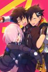 1girl 2boys ahoge armor black_gloves black_hair blush breasts chaldea_uniform cis05 closed_eyes commentary_request eyebrows_visible_through_hair fate/grand_order fate_(series) fujimaru_ritsuka_(male) gloves grey_eyes group_hug hair_between_eyes hair_over_one_eye hug hug_from_behind large_breasts looking_at_viewer mandricardo_(fate/grand_order) mash_kyrielight multicolored_hair multiple_boys open_mouth ortenaus pink_hair polar_chaldea_uniform short_hair smile twitter_username two-tone_hair violet_eyes white_hair
