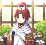1girl animal apron bangs benienma_(fate/grand_order) bird blush brown_hair brown_kimono commentary english_commentary eyebrows_visible_through_hair fate/grand_order fate_(series) flower food hat holding holding_food indoors japanese_clothes kimono long_hair long_sleeves low_ponytail onigiri parted_bangs parted_lips ponytail red_eyes red_flower red_headwear rocm_(nkkf3785) smile solo sparrow standing twitter_username white_apron wide_sleeves window
