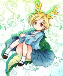 1girl :o arm_rest arms_on_knees bangs blonde_hair blue_shirt blue_skirt bobby_socks brown_footwear convenient_leg dragon_girl dragon_horns drop_shadow dutch_angle eyebrows_visible_through_hair floral_background horns kicchou_yachie knees_up long_sleeves looking_at_viewer plant pote_(ptkan) red_eyes shirt short_hair sitting skirt slit_pupils socks solo swept_bangs touhou turtle_shell vines white_background white_legwear