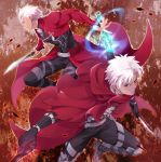 2boys archer armor bodysuit cape danemaru dark_skin dark_skinned_male dual_wielding emiya_kiritsugu emiya_kiritsugu_(assassin) fate/grand_order fate/stay_night fate/zero fate_(series) greaves gun handgun holding kanshou_&_bakuya knife male_focus multiple_boys thompson/center_contender weapon white_hair