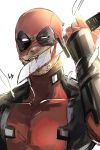 1boy blood bloody_weapon bodysuit deadpool facial_hair highres kibiko_sato licking licking_weapon male_focus marvel mask mask_on_head reverse_grip solo stubble superhero weapon