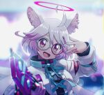 1girl ahoge animal_ear_fluff animal_ears aqua_nails aqua_ribbon arm_up blurry blurry_background character_request fang hair_ornament halo hand_up highres holding kunitarou-art looking_at_viewer multicolored_hair open_mouth pink_hair ribbon show_by_rock!! solo two-tone_hair upper_body violet_eyes white_hair