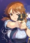 1girl breasts brown_eyes brown_hair firing gun handgun idolmaster idolmaster_cinderella_girls kamille_(vcx68) katagiri_sanae large_breasts lips muzzle_flash necktie one_eye_closed police police_uniform policewoman revolver solo uniform upper_body watch weapon