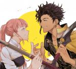 1boy 1girl axe bow_(weapon) brown_hair claude_von_riegan dark_skin dark_skinned_male earrings fire_emblem fire_emblem:_three_houses garreg_mach_monastery_uniform green_eyes grin hilda_valentine_goneril jewelry over_shoulder pink_eyes pink_hair smile twintails weapon weapon_over_shoulder