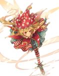 1girl american_flag_dress blonde_hair blush closed_mouth clownpiece commentary_request embellished_costume fairy_wings fire floating_hair full_body gensou_aporo hat holding jester_cap leaning_forward long_hair looking_at_viewer outstretched_arms polka_dot red_eyes red_headwear simple_background smile solo spread_arms standing standing_on_one_leg star star_print striped torch touhou transparent_wings white_background wings