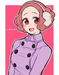 1girl :d artist_name blush brown_eyes brown_hair coat commentary_request do_m_kaeru earmuffs okumura_haru open_mouth persona persona_5 persona_5_the_royal purple_coat smile solo upper_body