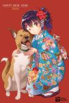 1girl 2020 ;d artist_logo bangs bell blue_kimono blush braid buckle collar commentary_request crown_braid dog eyebrows_visible_through_hair floral_print flower full_body geta grin hair_flower hair_ornament hairclip happy_new_year hibiscus highres hug japanese_clothes jingle_bell kimono looking_at_viewer new_year one_eye_closed open_mouth original pairan print_kimono purple_hair red_background red_eyes red_flower short_sleeves side_ponytail simple_background smile solo squatting tabi teeth tongue tongue_out wavy_hair white_legwear yukata