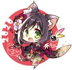 1girl 2020 animal_ear_fluff animal_ears bangs blush brown_hair cat_ears cat_tail chibi commentary_request eyebrows_visible_through_hair fang floral_print flower green_eyes hair_flower hair_ornament japanese_clothes kimono komowata_haruka kyaru_(princess_connect) looking_at_viewer multicolored_hair obi open_mouth outstretched_arm princess_connect! princess_connect!_re:dive red_background sash skin_fang solo swept_bangs tail two-tone_hair v-shaped_eyebrows white_hair
