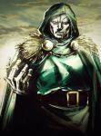 1boy arm_up armor belt cape doctor_doom fur_trim hood hood_up kibiko_sato male_focus marvel mask solo tunic