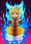 1girl :o ahoge armor armored_dress arms_up black_background blonde_hair bloomers blue_fire bright_pupils brown_eyes clenched_hands double_bun feet_out_of_frame fiery_background fire gradient gradient_background hair_ribbon haniwa_(statue) joutouguu_mayumi looking_at_viewer open_mouth pote_(ptkan) puffy_short_sleeves puffy_sleeves red_background ribbon shirt short_hair short_sleeves solo standing touhou underwear vambraces white_shirt