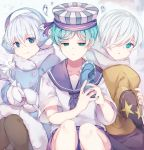 3boys black_legwear blue_coat blue_eyes blue_hair blue_shorts brown_headwear cookie_run earmuffs glint hair_over_one_eye hat hat_removed headwear_removed highres holding holding_staff holding_wand male_focus multiple_boys nyaruin paper_boat_sailor peppermint_cookie school_uniform serafuku shorts silver_hair simple_background sitting smile snow_sugar_cookie snowflakes staff star wand white_hair wizard_cookie wizard_hat