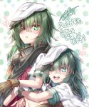 2girls :d aiguillette bangs blush bracelet brown_gloves cape commentary_request dated dual_persona eyebrows_visible_through_hair eyepatch gloves green_eyes green_hair green_sailor_collar hair_between_eyes hat heart hug hug_from_behind jewelry kantai_collection kiso_(kantai_collection) medium_hair midriff military military_uniform multiple_girls naval_uniform navel neckerchief open_mouth parted_lips pauldrons polka_dot polka_dot_background red_neckwear remodel_(kantai_collection) sailor_collar sailor_hat school_uniform serafuku short_sleeves sidelocks signature smile translation_request uniform upper_body upper_teeth white_background white_serafuku yuihira_asu