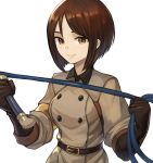 1girl absurdres bangs belt belt_buckle brown_eyes brown_hair buckle closed_mouth commentary_request earrings grey_jacket hand_up highres holding_whip jacket jewelry long_hair military military_uniform parted_bangs short_hair simple_background smile solo sookmo the_king_of_fighters the_king_of_fighters_xiv uniform upper_body whip whip_(kof) white_background