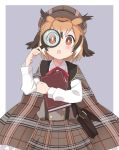 1girl alternate_costume bag blush book bow bowtie brown_eyes brown_hair cape collared_shirt commentary_request cowboy_shot detective eurasian_eagle_owl_(kemono_friends) grey_hair handbag highres holding holding_book ilyfon133 kemono_friends kemono_friends_festival light_brown_hair long_sleeves looking_at_viewer magnifying_glass multicolored_hair plaid plaid_cape plaid_skirt pleated_skirt red_neckwear shirt short_hair skirt solo suspender_skirt suspenders white_shirt