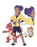 1boy 1girl charmeleon dande_(pokemon) dark_skin dark_skinned_male gen_1_pokemon gloves green_eyes hair_ornament hairclip hands_on_hips heart heart_hair_ornament jacket pokemon pokemon_(creature) pokemon_(game) pokemon_swsh ponytail purple_hair sagemaru-br shin_guards shorts sonia_(pokemon) white_footwear white_gloves yellow_eyes yellow_jacket younger