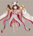 1girl animal_ear_fluff animal_ears azur_lane bangs bare_shoulders barefoot black_hair blush closed_mouth commentary_request detached_sleeves ears_through_headwear eyebrows_visible_through_hair fox_ears full_body grey_background hair_ornament hairclip headpiece japanese_clothes kimono long_sleeves looking_at_viewer miko mimikaki_(men_bow) nagato_(azur_lane) obi ribbon-trimmed_sleeves ribbon_trim sash sleeveless sleeveless_kimono smile solo veil white_kimono wide_sleeves x_hair_ornament yellow_eyes