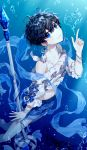 absurdres air_bubble androgynous arm_up bare_legs bare_shoulders black_hair blue_eyes blue_shorts bracelet bubble closed_mouth collarbone commentary_request copyright_request detached_sleeves earrings ha_youn heart highres jewelry looking_at_viewer puffy_sleeves short_hair shorts smile solo staff underwater