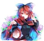 1girl black_shirt blue_bow bow cape disembodied_head eyebrows_visible_through_hair flower hair_bow hand_up high_collar kutsuki_kai leaf long_sleeves looking_down multiple_heads open_mouth outstretched_hand red_cape red_eyes redhead sekibanki shirt short_hair squiggle sweatdrop touhou upper_body white_background