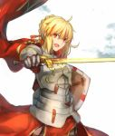 1other armor artoria_pendragon_(all) blonde_hair braid cape excalibur fate/stay_night fate/strange_fake fate_(series) fusion fuurin garter_straps gauntlets glowing glowing_sword glowing_weapon holding holding_sword holding_weapon male_focus multicolored_hair plackart red_cape red_eyes saber saber_(fate/strange_fake) shield single_braid solo streaked_hair sword weapon
