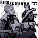 2boys buzz_cut caster_(fate/strange_fake) chair coat copyright_name elbow_rest fate/strange_fake fate_(series) fur_collar high_contrast highres holding holding_phone male_focus monochrome multiple_boys orlando_reeve phone redoxhn rotary_phone scar sitting