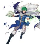 1boy belt book boots cape ced_(fire_emblem) fire_emblem fire_emblem:_genealogy_of_the_holy_war fire_emblem_heroes full_body green_eyes green_hair highres injury official_art solo suda_ayaka teeth torn_clothes transparent_background wind
