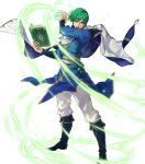 1boy belt book boots cape ced_(fire_emblem) fire_emblem fire_emblem:_genealogy_of_the_holy_war fire_emblem_heroes full_body green_eyes green_hair highres official_art open_mouth solo suda_ayaka teeth transparent_background wind