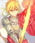 1boy armor blonde_hair braid cape excalibur fate/strange_fake fate_(series) fighting_stance fuurin glowing glowing_sword glowing_weapon highres male_focus multicolored_hair red_cape red_eyes saber_(fate/strange_fake) single_braid smile solo streaked_hair weapon