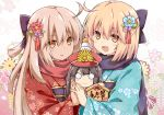 3girls :d ahoge bangs black_bow black_hair blonde_hair blue_flower blue_kimono blush bow brown_eyes brown_hair chibi closed_mouth commentary_request ema eyebrows_visible_through_hair family_crest fate/grand_order fate_(series) floral_background floral_print flower hair_between_eyes hair_bow hair_flower hair_ornament hands_together hat holding_hands japanese_clothes kagami_mochi kimono koha-ace long_hair long_sleeves looking_at_viewer minigirl multiple_girls o_o obi oda_nobunaga_(fate) oda_nobunaga_(fate)_(all) oda_uri okita_souji_(alter)_(fate) okita_souji_(fate) okita_souji_(fate)_(all) open_mouth parted_lips peaked_cap print_kimono red_flower red_headwear red_kimono rioshi sash smile upper_body wide_sleeves