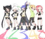 +_+ 2boys 3girls ;d anklet aori_(splatoon) arm_up asymmetrical_sleeves bike_shorts black_cape black_footwear black_hair black_jacket black_shirt black_shorts black_skirt blonde_hair blue_hair boots bracelet brown_eyes cape commentary cousins crop_top domino_mask drawstring fang hair_pulled_back hair_slicked_back hand_on_hip headgear highres hotaru_(splatoon) inkling jacket jewelry leg_up long_hair long_sleeves looking_at_viewer makeup mascara mask medium_hair microskirt midriff mole mole_under_eye multiple_boys multiple_girls navel no_legwear number octoling one_eye_closed open_mouth paint_splatter pencil_skirt redhead scrunchie sharp_teeth shirt shoes short_hair shorts side-by-side simple_background single_vertical_stripe skirt smile splatoon_(series) splatoon_1 splatoon_2 splatoon_2:_octo_expansion squidbeak_splatoon standing standing_on_one_leg suction_cups sukeo_(nunswa08) teeth tentacle_hair topknot v-shaped_eyebrows very_long_hair vest white_background white_hair yellow_footwear yellow_jacket yellow_vest zipper