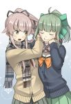 2girls black_cardigan black_skirt blush bow buttons closed_eyes eyebrows_visible_through_hair fringe_trim green_bow green_hair green_skirt hair_bow highres kantai_collection long_hair long_sleeves multiple_girls negahami open_mouth pink_hair plaid plaid_scarf pleated_skirt ponytail scarf skirt yellow_cardigan yellow_eyes yura_(kantai_collection) yuubari_(kantai_collection)